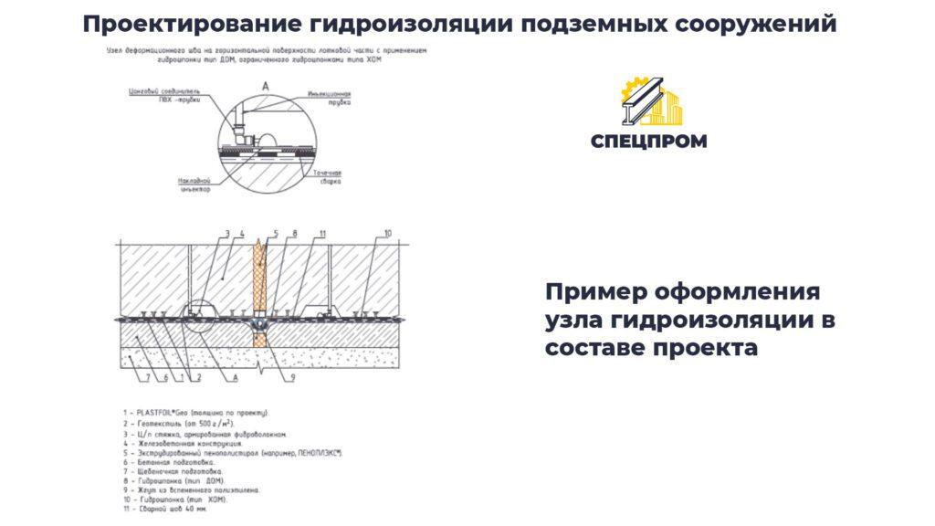 Пример проработки деталей и оформления узла гидроизоляции подземного сооружения